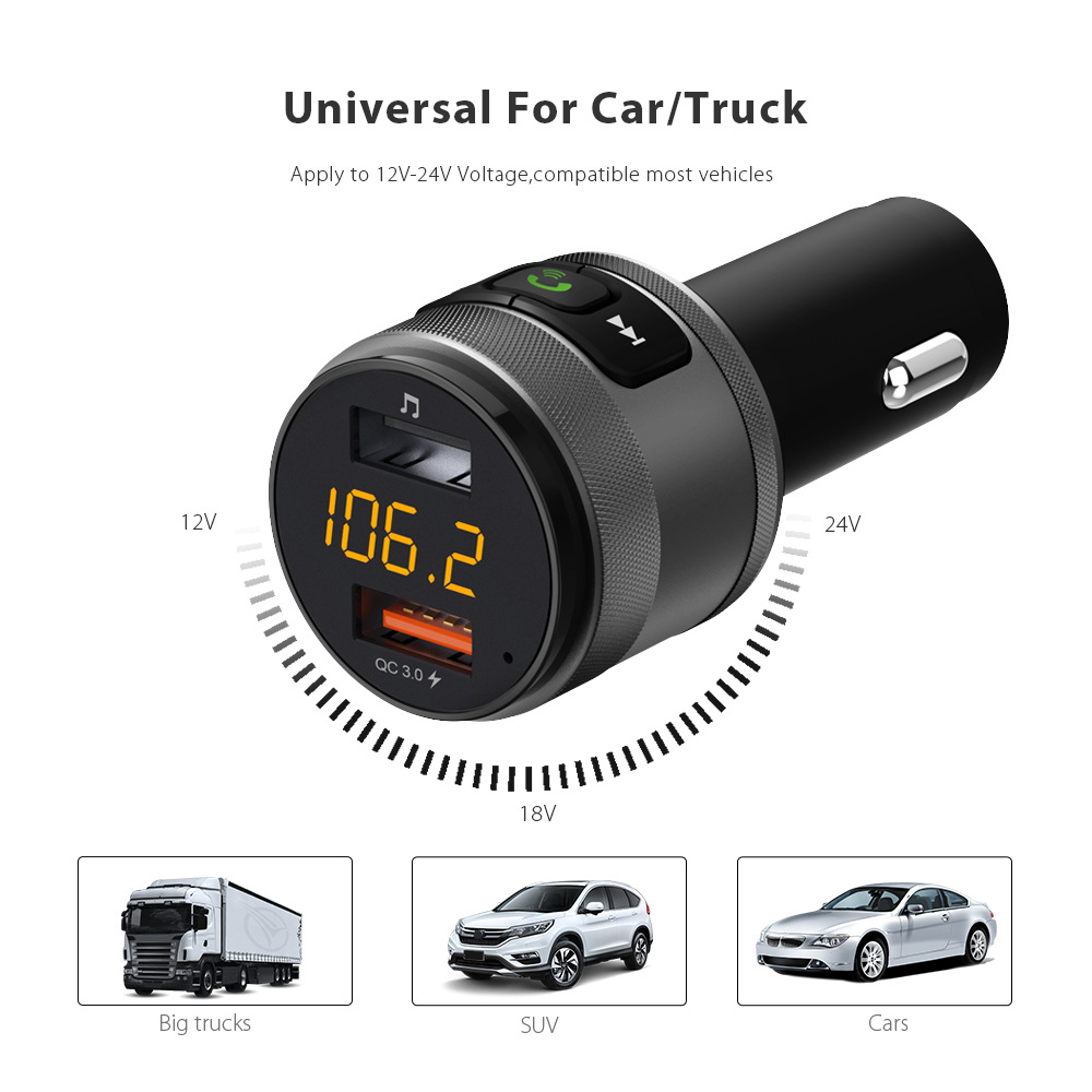 AUCU Car Kit Wireless Bluetooth 4.2 FM Transmitte QC3.0 Dual USB port de încărcare Rapidă Music Player MP3 USB Incarcator HandsFree
